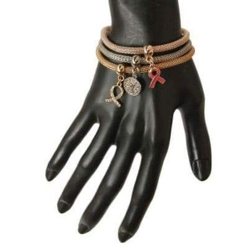 3 Metal Breast Cancer Bracelet