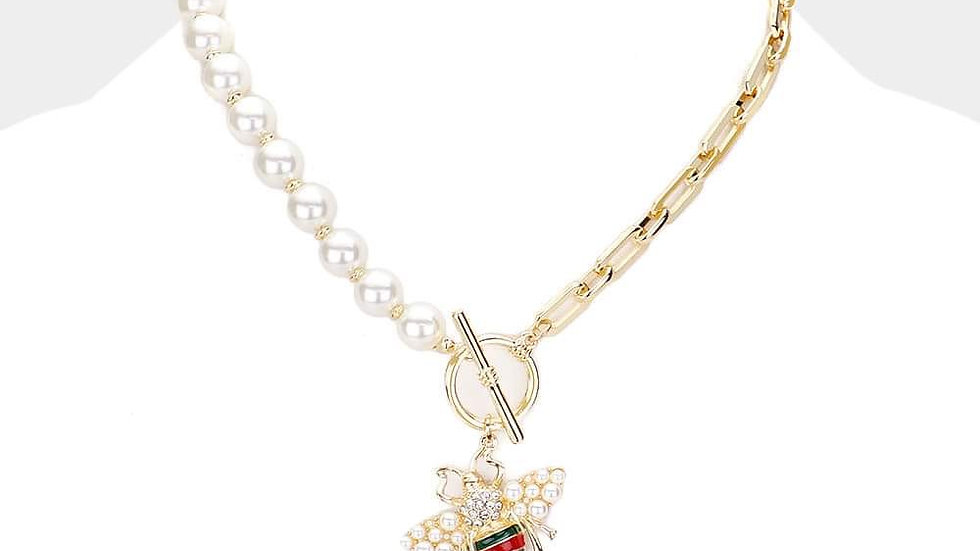 Pearl Gold Chain Link Bee Necklace Set