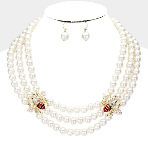 Three Strand Double Bee Necklace Set
