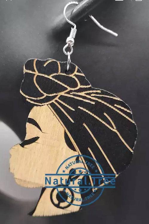 Head Wrap Wooden Earrings