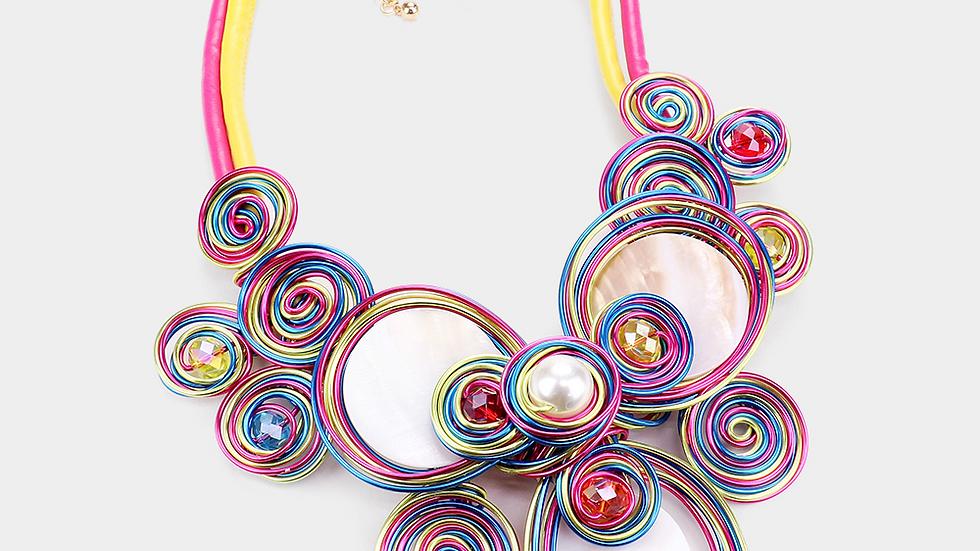 Multi Color Wire Necklace Set