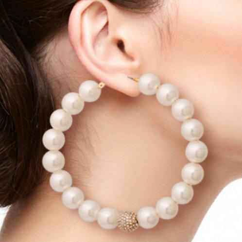 Oversized Pearl Hoops w/ Jewel