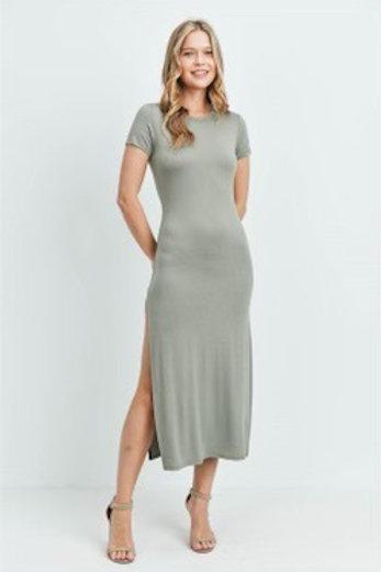 Sage High Slit Dress
