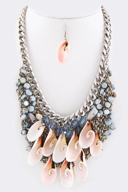 Mix Beads Shell Statement Necklace