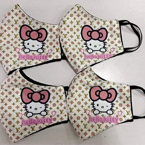 Tan LV Hello Kitty Inspired Mask
