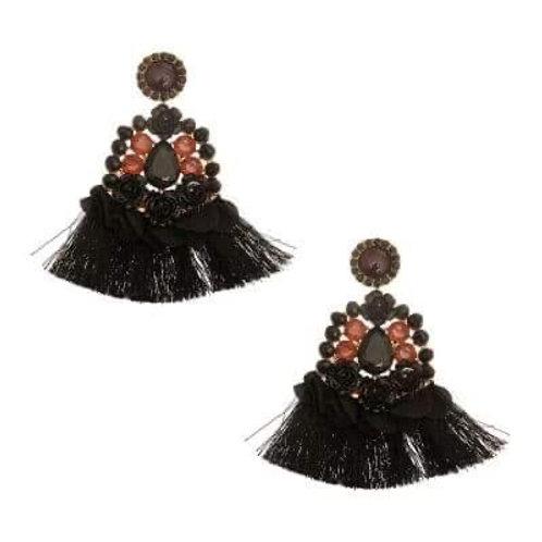 Black Crystal Encrusted Tassel Earrings
