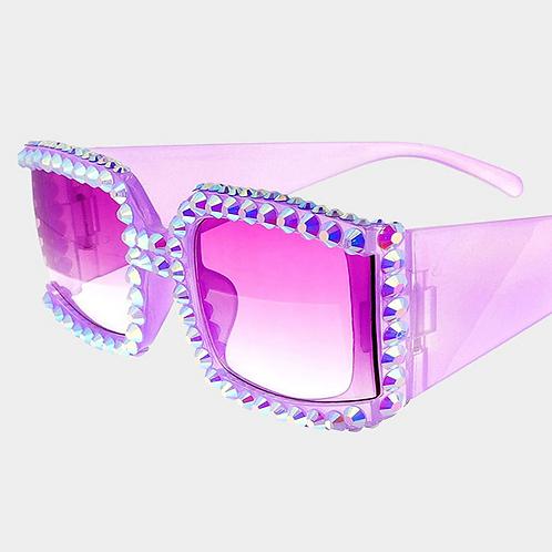 Purple Square Rhinestone Sunglasses