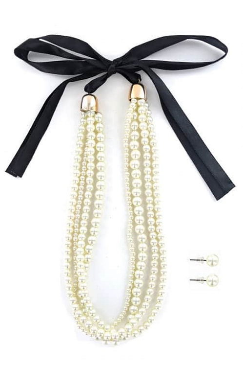 Tied Pearl Necklace Ser
