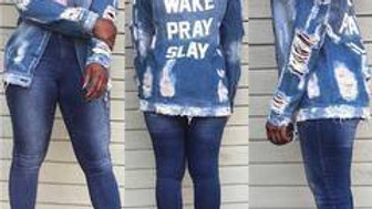 WAKE PRAY SLAY Denim Jacket