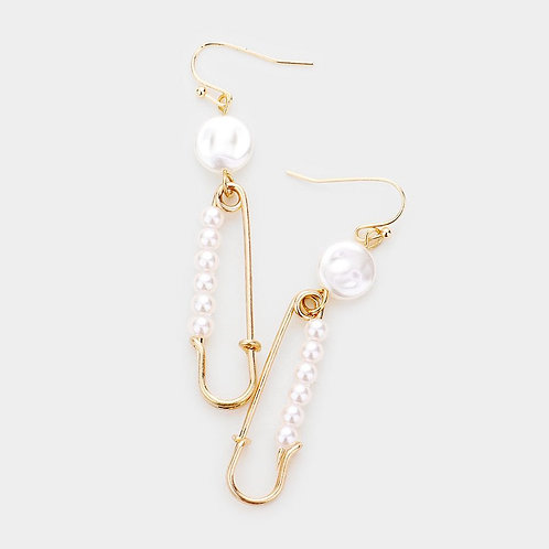 Pearl Safety Pin Inspired Earrings