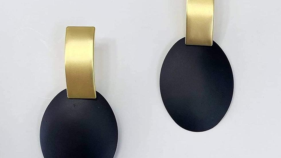 Black & Gold Oval Earrings