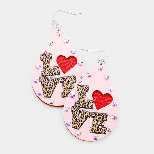 Cheetah Print Love Earrings