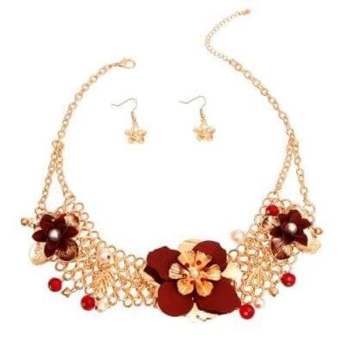 Red Floral Necklace Set