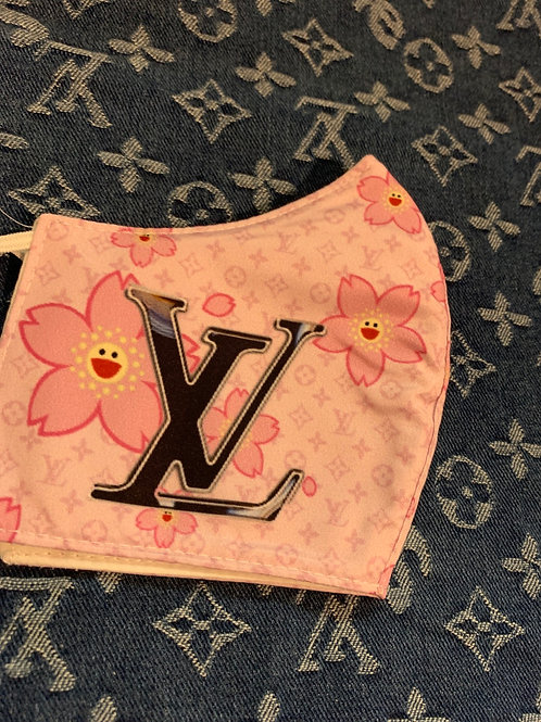 Pink Floral LV Inspired Mask