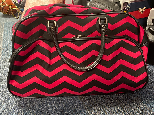 Medium Pink and Black Wheel or Carry Luggage Bag