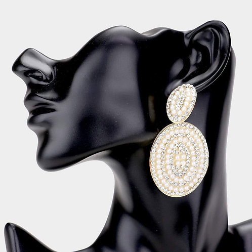 Oval Pearly Jeweled Earrings