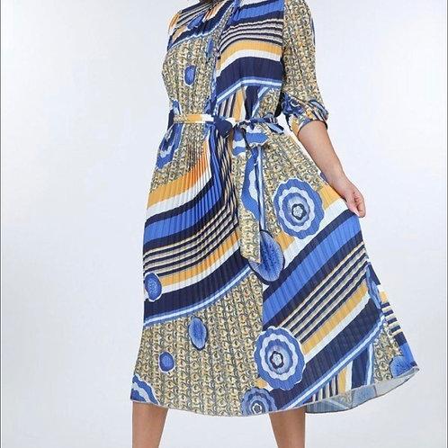 Blue & Yellow Printed Maxi Dress