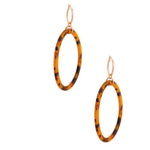 Oval Print Cutout Earrings