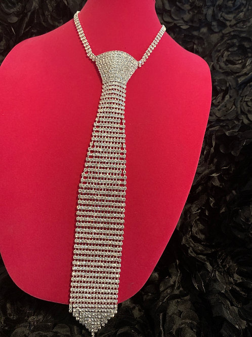 Silver Bling Bow Tie Necklace Set