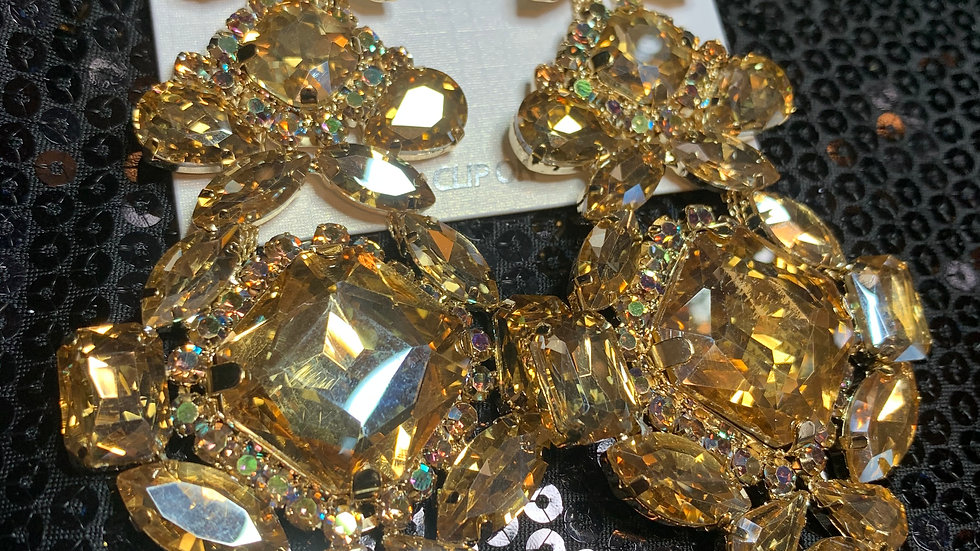 Champagne Oversize Jeweled Clip-Ons