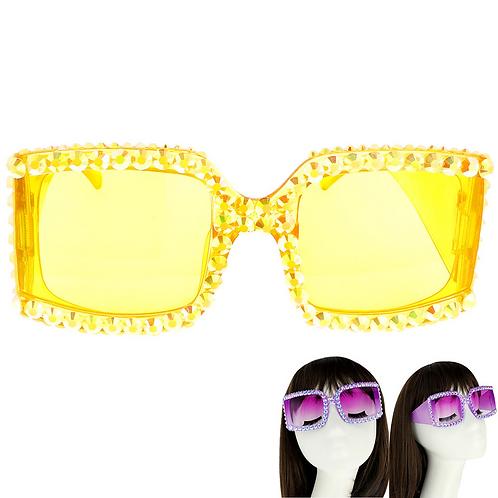 Yellow Square Rhinestone Sunglasses