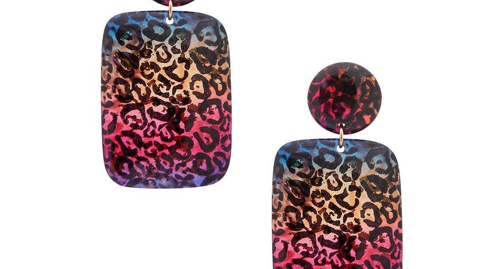 Rainbow Cheetah Print Earrings