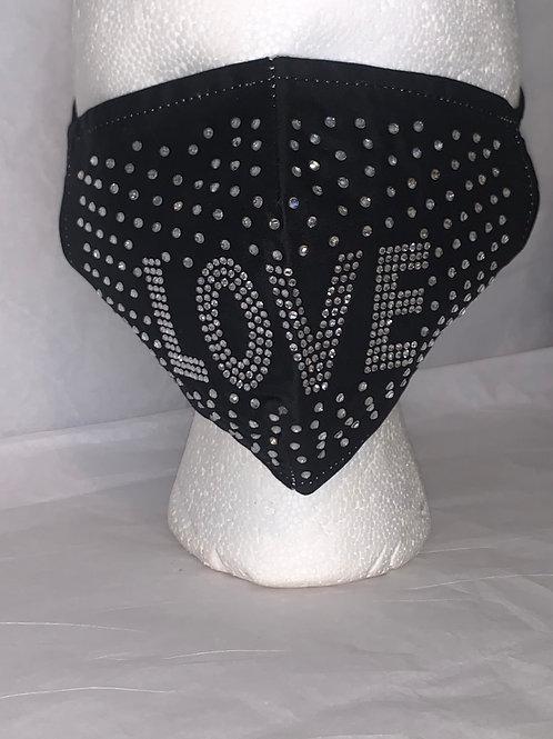 "Bejeweled ""LOVE"" Face Mask"
