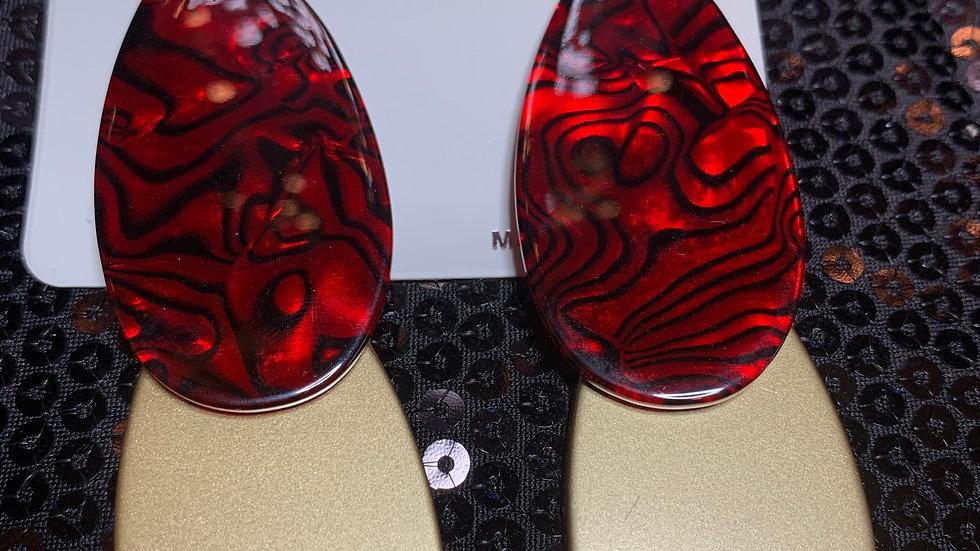 Red & Gold Printed Drop Earrings