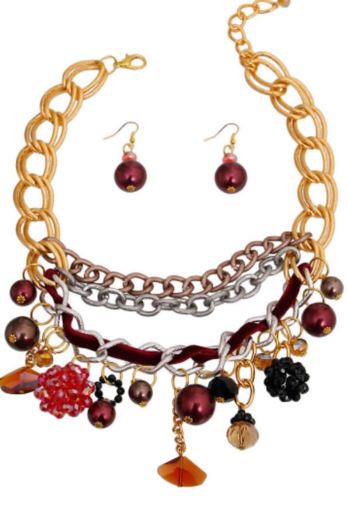 Red Pearl Necklace Set