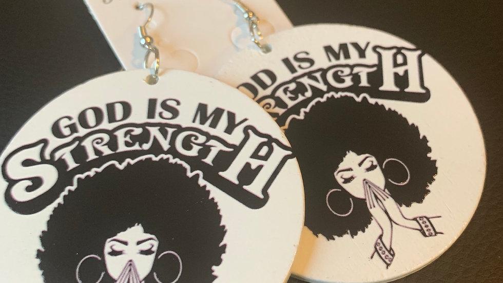 God is My Strength Wooden Earrings