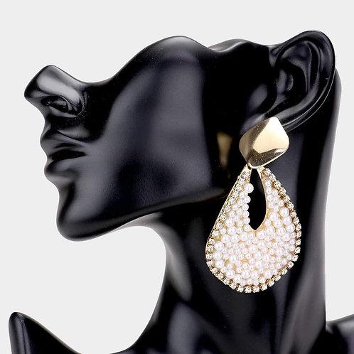 Pearl Teardrop Cutout Earrings