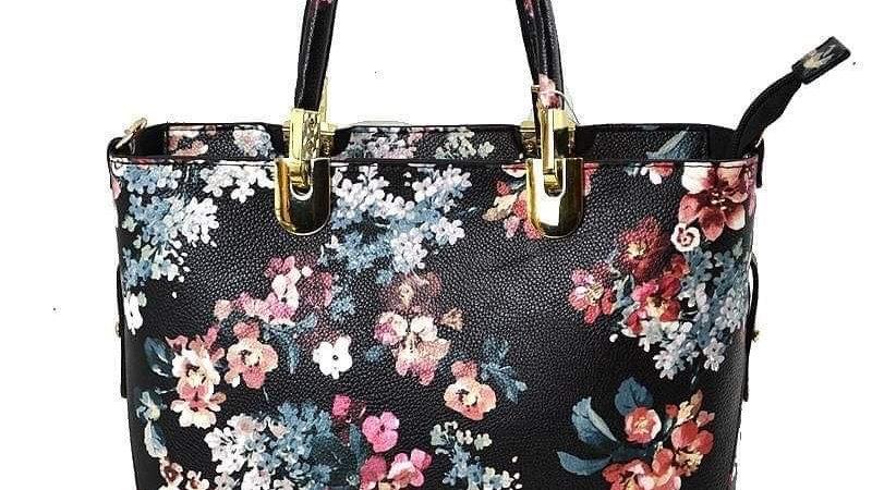Black Floral Handbag