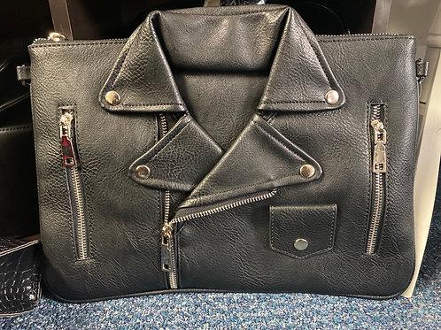 Faux Leather Jacket Clutch Handbag