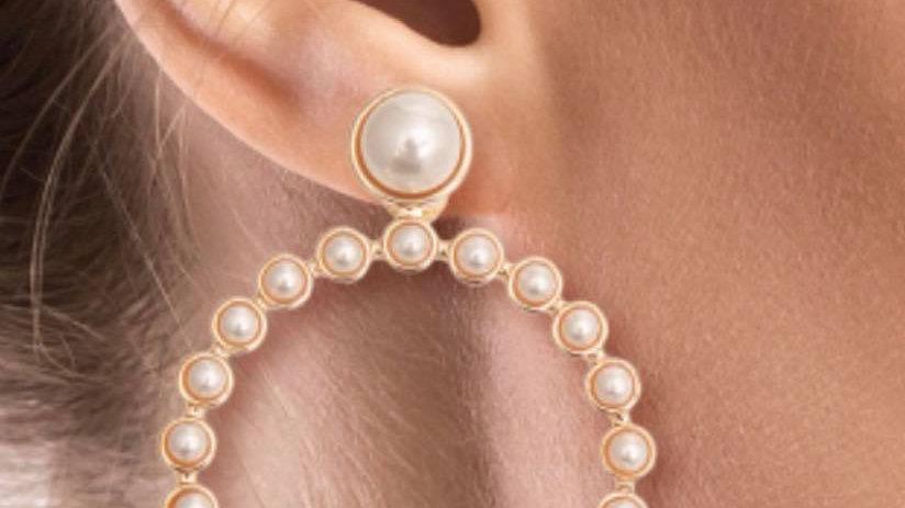 Ring Around Pearl Earrings