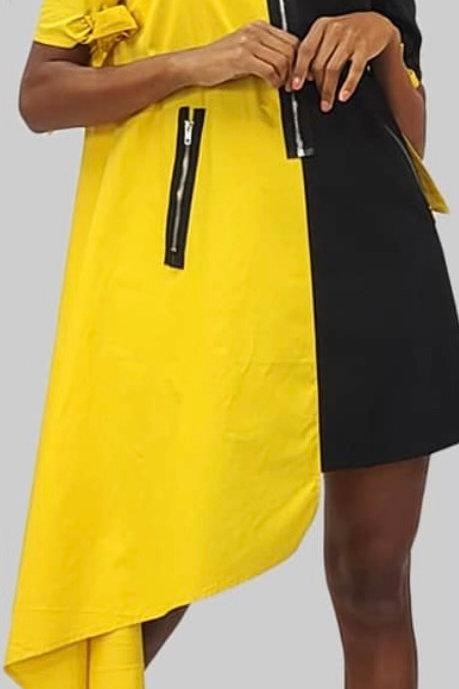High Low Color Block Mini Dress