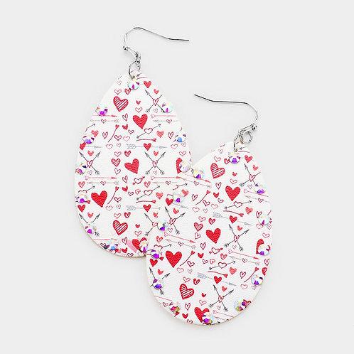 Tiny Heart Leather Earrings