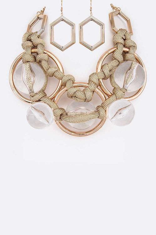Jumbo Acrylic Gold Statement Necklace