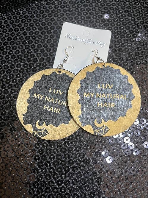 LUV My Natural Hair Wooden Earrings