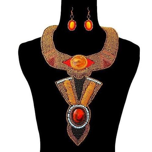 Gold Bead Bib Necklace Set