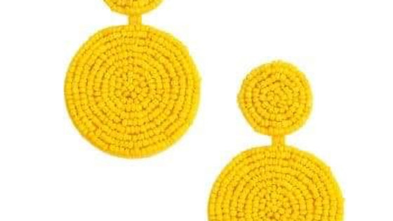 Round Mustard Beaded Earrings