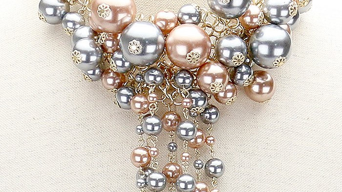 Silver & Gold Drop Pearl Necklace