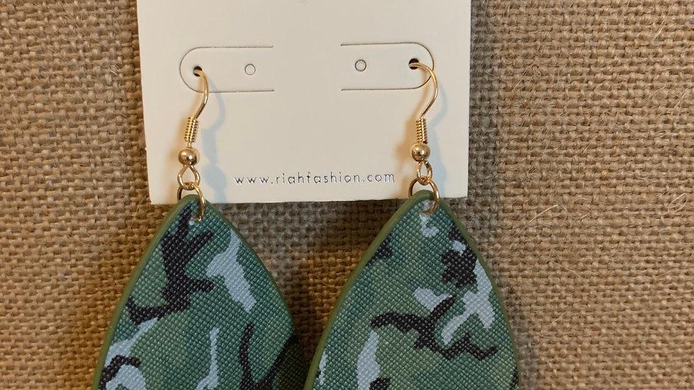 Green Camo Drop Earrings
