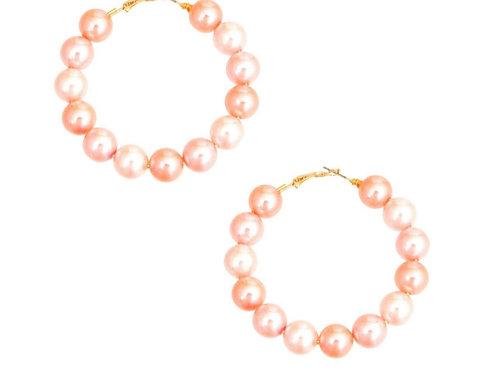 Pink Pearl Hoops
