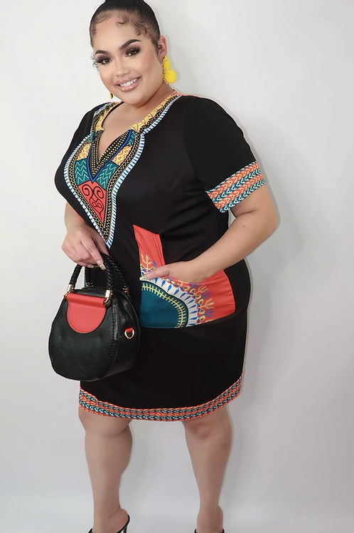 African print dress (2x)