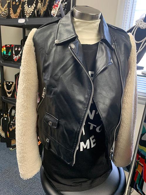 Black Sherpa Sleeve Moto Jacket