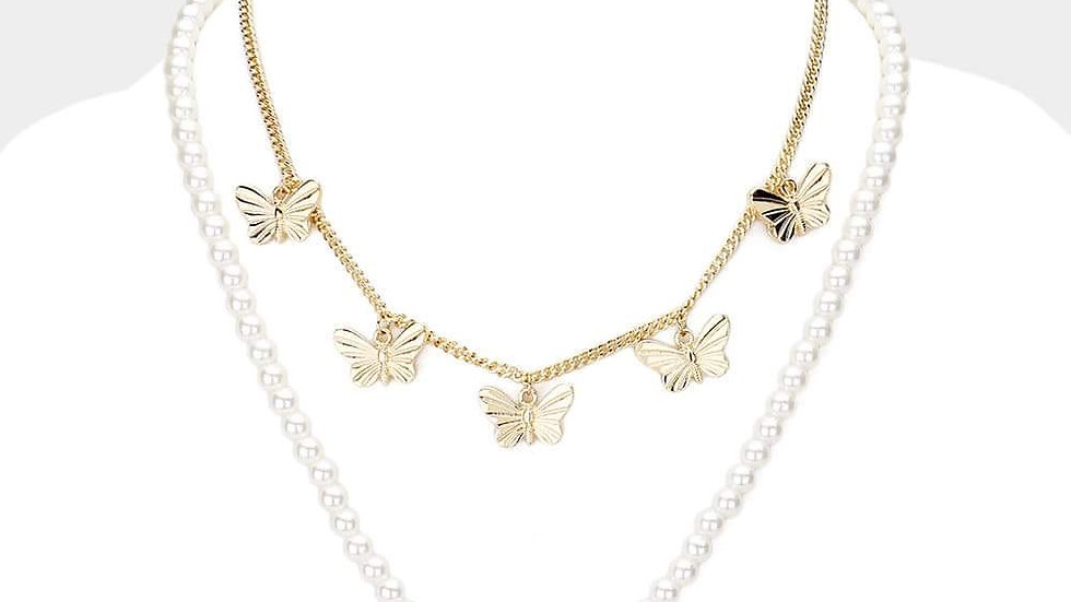 Pearl Butterfly Necklace Set