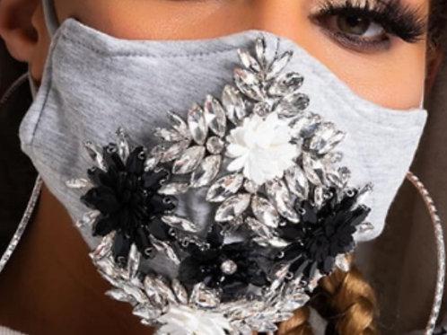 Grey Jeweled Statement Mask