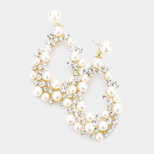 Jeweled Pearly Teardrop Hoops