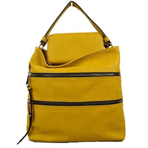 Mustard Zippered 2 in 1 handbag