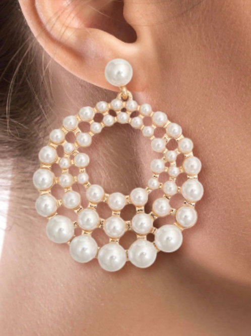 Three Tier Round Pearl Earrings